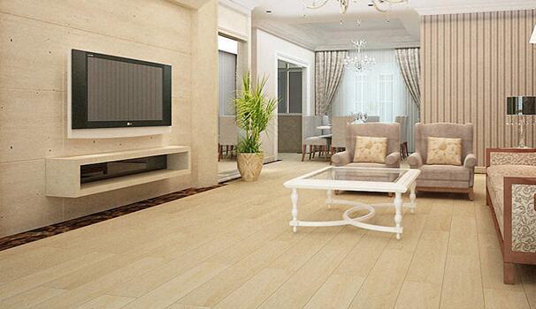 客厅木地板安装首选大尺寸地板